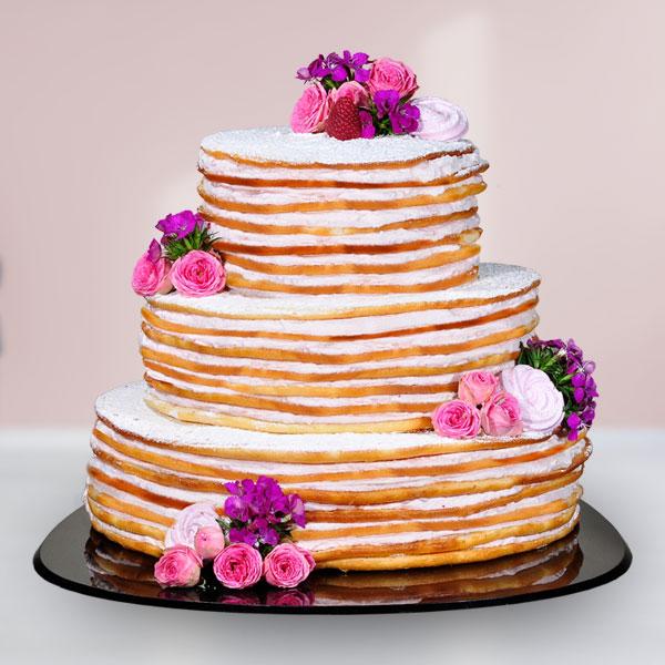 LINDNER Hochzeitstorte Fresh Flower Naked Cake