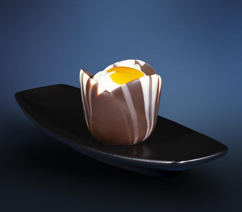 Vanillequark im Schokocup mit Mango – Passionsfrucht