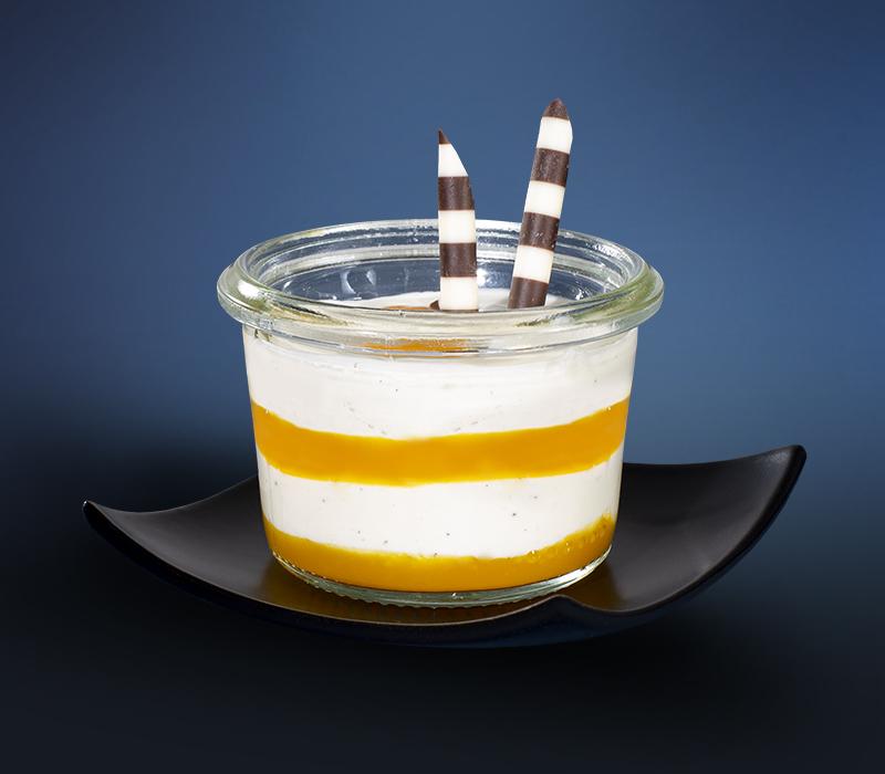Vanillequark Mango-Passionsfrucht im Mini-Weckglas